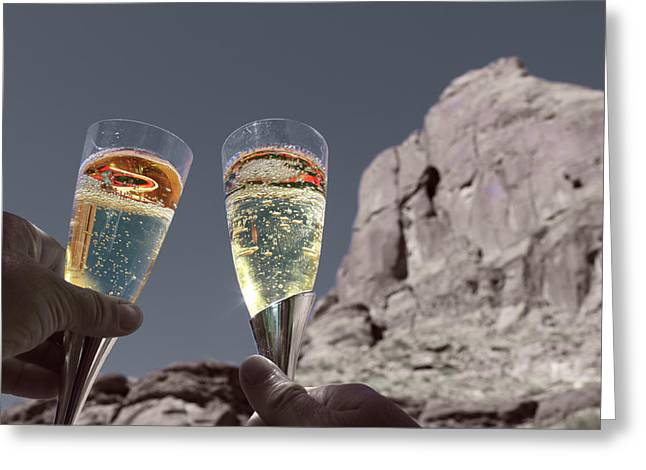 Champagne Glasses Greeting Cards - Champagne Wish Greeting Card by Angie Wingerd