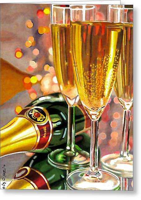 Champagne Wishes Greeting Card by Cory Still