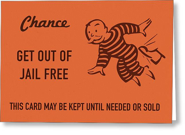 Chance Card Vintage Monopoly Get Out Of Jail Free Greeting Card