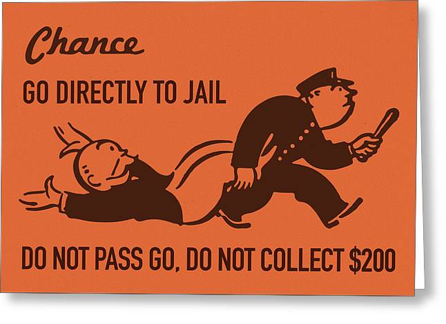 Chance Card Vintage Monopoly Go Directly To Jail Greeting Card