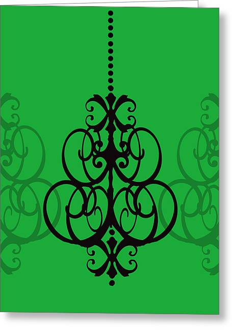 Greeting Card featuring the photograph Chandelier Delight 1- Green Background by KayeCee Spain