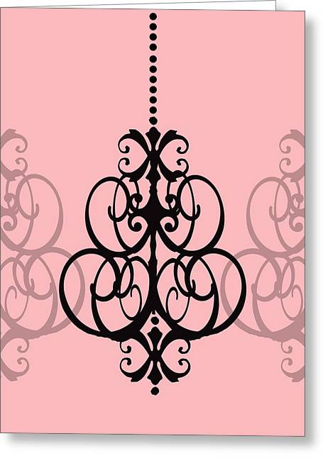 Chandelier Delight 1- Pink Background Greeting Card