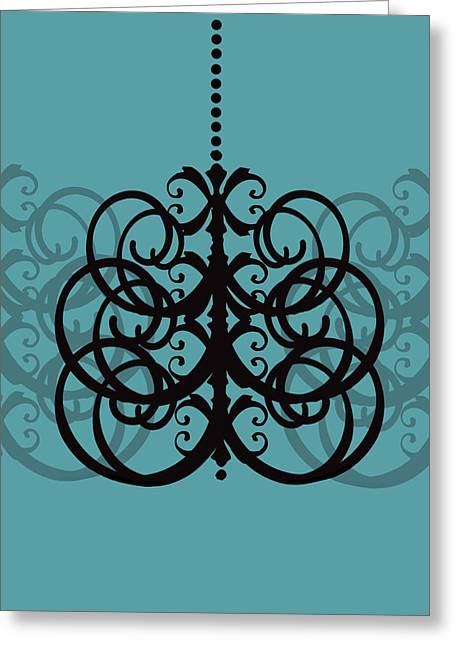 Greeting Card featuring the photograph Chandelier Delight 2- Blue Background by KayeCee Spain