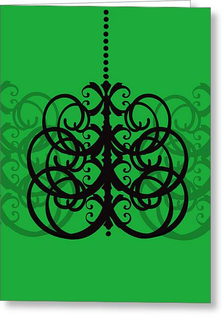 Greeting Card featuring the photograph Chandelier Delight 2- Green Background by KayeCee Spain
