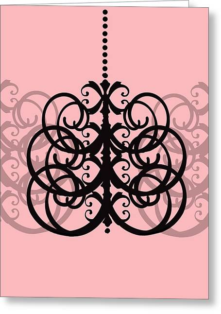 Greeting Card featuring the photograph Chandelier Delight 2- Pink Background by KayeCee Spain