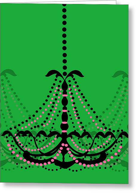 Greeting Card featuring the photograph Chandelier Delight 3- Green Background by KayeCee Spain