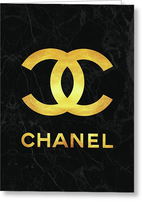 Chanel - Black And Gold Greeting Card