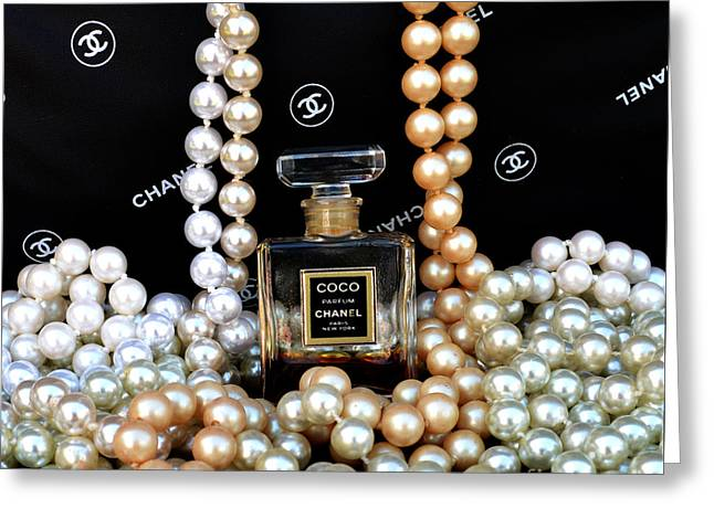 Chanel Coco With Pearls Greeting Card by To-Tam Gerwe