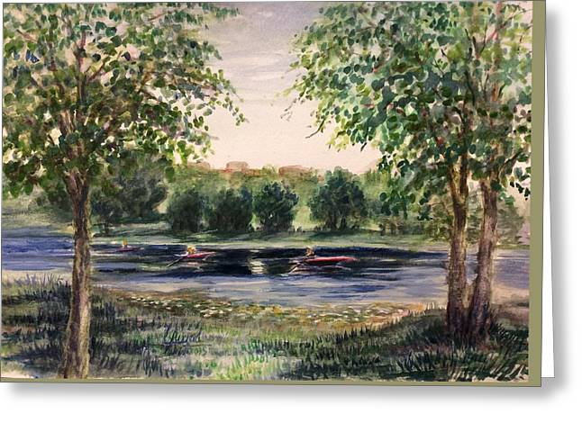 Greeting Card featuring the painting Channel At The Lake Of Isle - Minneapolis  by Laila Awad Jamaleldin