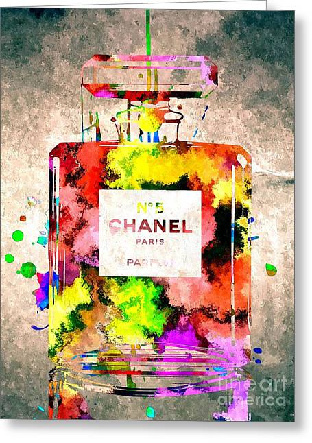Chanel No 5 Grunge Greeting Card by Daniel Janda