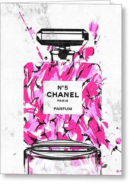 Chanel No. 5 Pink Army Greeting Card by Daniel Janda
