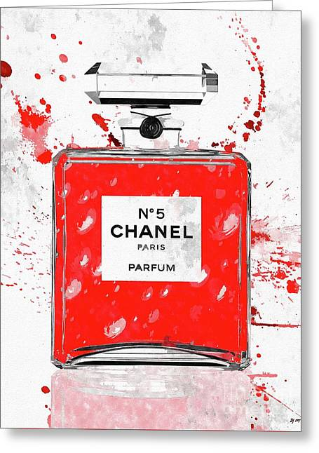 Chanel No 5 Red Greeting Card