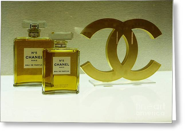 Chanel No 5 With Cc Logo Greeting Card