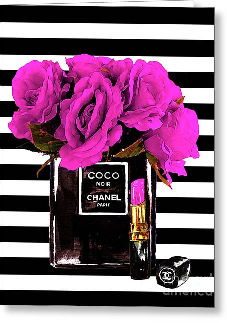 Chanel Noir Perfume With Flowers Greeting Card