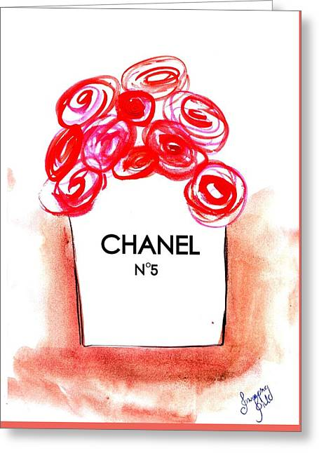 Chanel Peach Flower Bag Greeting Card by Sweeping Girl