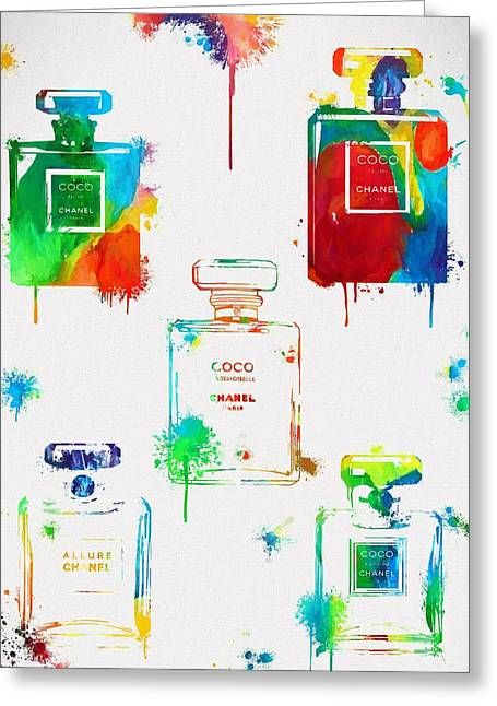 Chanel Perfume Paint Splatter Greeting Card