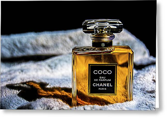Chanel Vintage Perfume Bottle Greeting Card