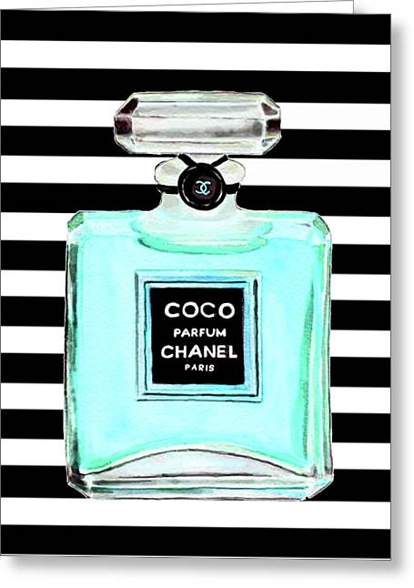 Chanel Perfume Turquoise Chanel Poster Chanel Print Greeting Card
