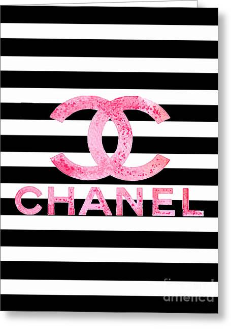 Chanel Pink Logo On Stripes Greeting Card