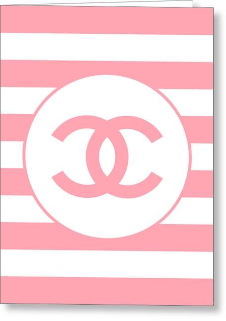 Chanel Pink Stripes Greeting Card by Alta Vita