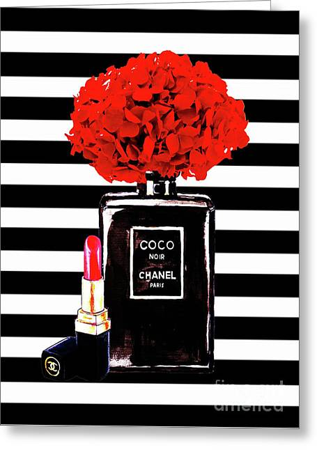 Chanel Poster Chanel Print Chanel Perfume Print Chanel With Red Hydragenia 3 Greeting Card