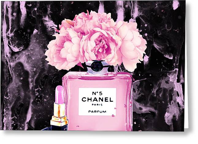 Chanel Print Chanel Poster Chanel Peony Flower Black Watercolor Greeting Card