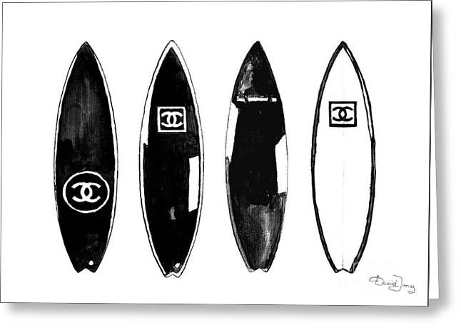 Chanel Surfboard  Black And White Greeting Card