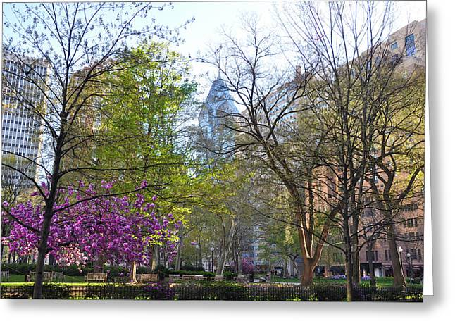 Change Of Seasons - Rittenhouse Square - Spring Greeting Card by Bill Cannon