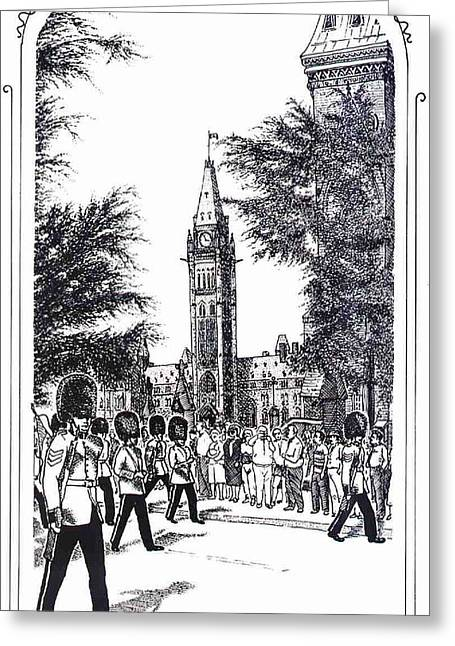 Changing Of The Guard Ottawa 1995 Greeting Card by John Cullen