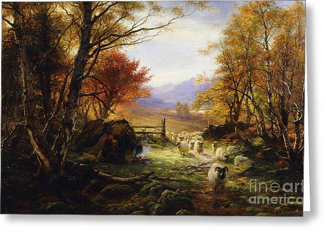 Changing Pastures, Evening Greeting Card by Joseph Farquharson