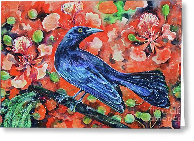 Chango On The Flamboyant Tree Greeting Card by Zaira Dzhaubaeva