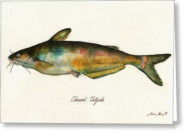 Channel Catfish Fish Animal Watercolor Painting Greeting Card