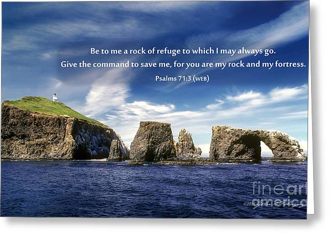 Channel Island National Park - Anacapa Island Arch With Bible Verse Greeting Card