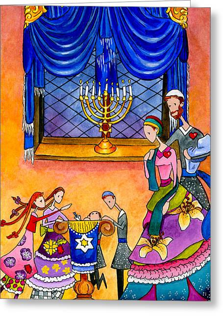 Chanukah Dreidel Greeting Card by Dawnstarstudios