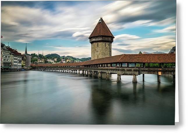Chapel Bridge In Lucerne Greeting Card