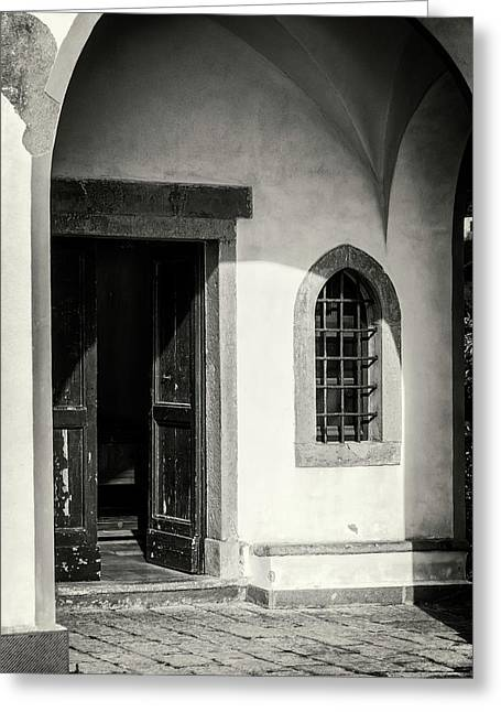 Chapel In Riomaggiore Cinque Terre Italy Bw Greeting Card by Joan Carroll
