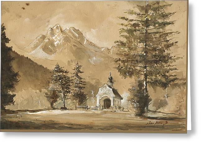 Chapel In The Forest Greeting Card