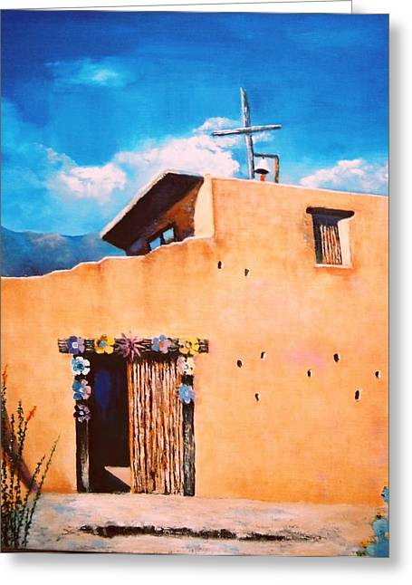 Greeting Card featuring the painting Chapel In The Sun by M Diane Bonaparte