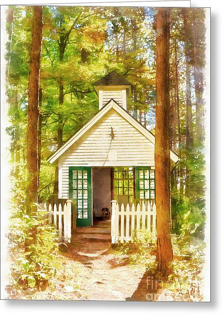 Chapel In The Woods Watercolor Greeting Card