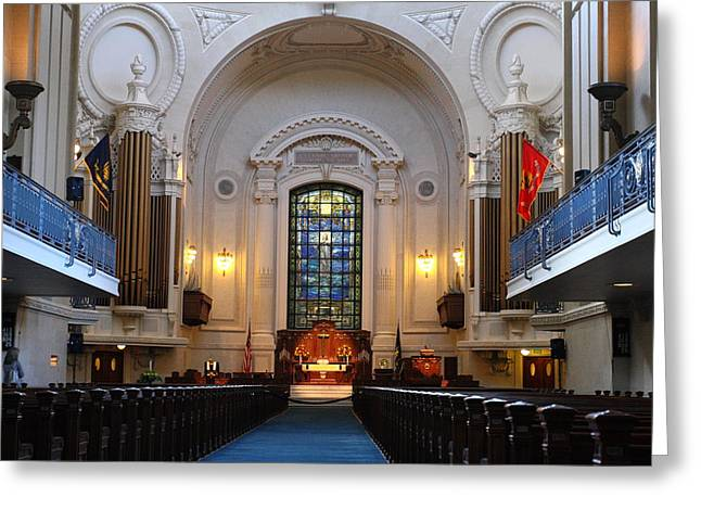 Chapel Interior - Us Naval Academy Greeting Card by Lou Ford