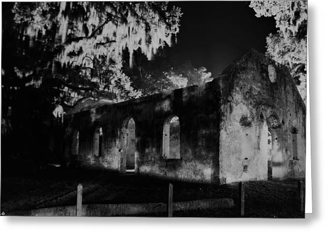 Chapel Of Ease St. Helena Island At Night Black And White Greeting Card by Lisa Wooten
