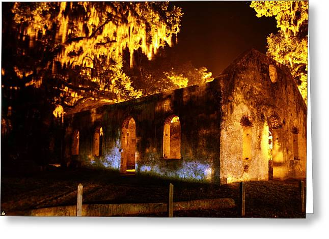 Chapel Of Ease St. Helena Island At Night Greeting Card by Lisa Wooten