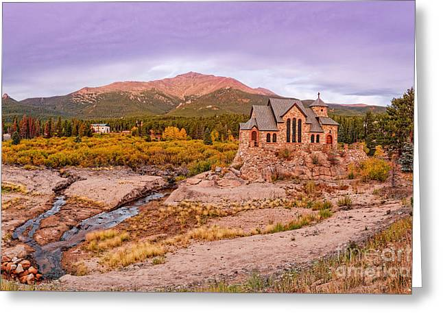 Chapel On The Rock And Long's Peak In The Fall - Peak To Peak Highway Estes Park Colorado Greeting Card by Silvio Ligutti