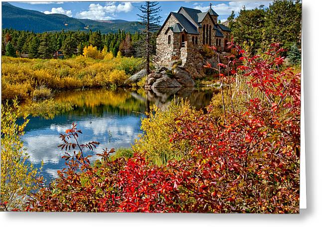 Nederland Greeting Cards - Chapel on the Rock Fall Greeting Card by Jennifer Grover