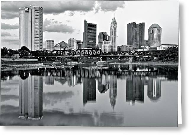 Charcoal Columbus Mirror Image Greeting Card by Frozen in Time Fine Art Photography