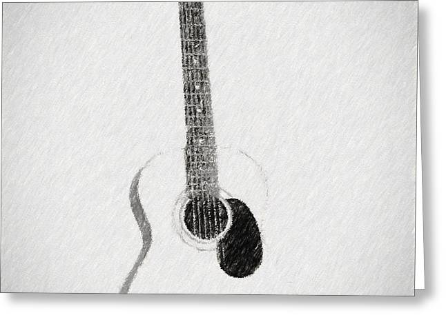Charcoal Guitar Sketch Greeting Card