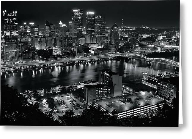 Charcoal Night Lights In Pittsburgh Greeting Card