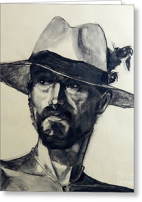 Charcoal Portrait Of A Man Wearing A Summer Hat Greeting Card
