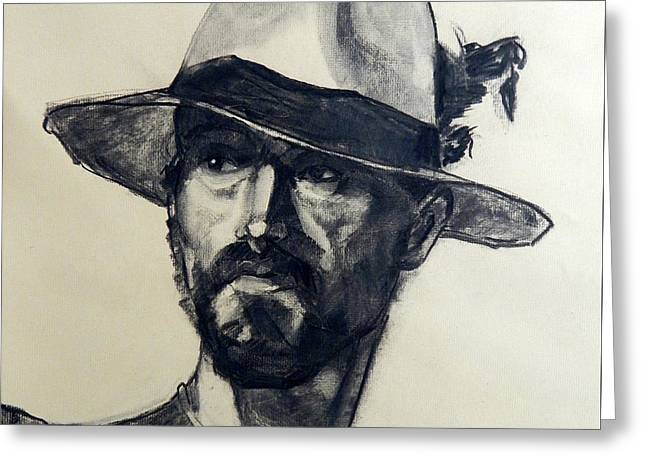 Charcoal Portrait Of A Man Wearing A Summer Hat Greeting Card by Greta Corens