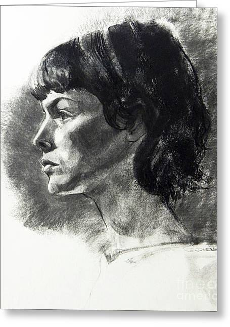 Charcoal Portrait Of A Pensive Young Woman In Profile Greeting Card